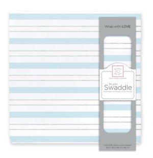 画像1: 【Swaddle Designs】おくるみ Serenity Stripes with Shimme(ブルーストライプ)(日本正規品)