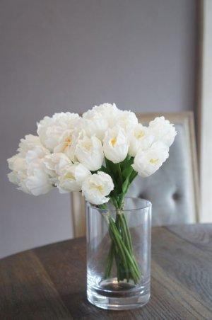 画像1: 【造花】小ぶりなチューリップ(ホワイト) 29cm20本セット