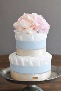 【Salon d'or】ラインストーンのダイパーケーキ(おむつケーキ)ブルー×ピンク