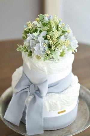 画像1: 【Salon d'or】こだわりブーケのダイパーケーキ(おむつケーキ)ブルー
