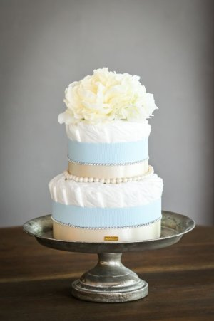 画像2: 【Salon d'or】ラインストーンとパールのダイパーケーキ(おむつケーキ)ブルー