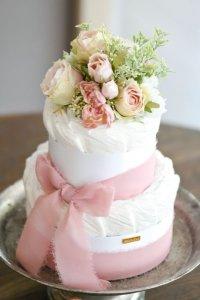 【Salon d'or】こだわりブーケのダイパーケーキ(おむつケーキ)ピンク