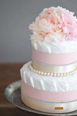 画像2: 【Salon d'or】ラインストーンとパールのダイパーケーキ(おむつケーキ)ピンク