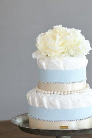 画像1: 【Salon d'or】ラインストーンとパールのダイパーケーキ(おむつケーキ)ブルー