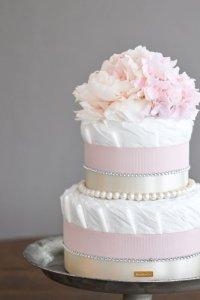 【Salon d'or】ラインストーンとパールのダイパーケーキ(おむつケーキ)ピンク