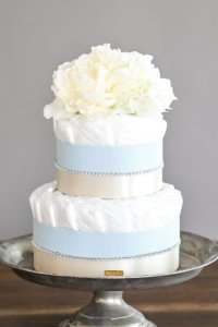 【Salon d'or】ラインストーンのダイパーケーキ(おむつケーキ)ブルー