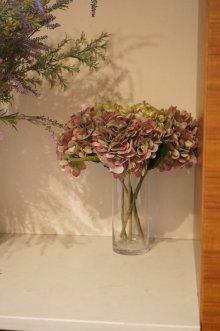 他の写真1: 【造花】秋色のあじさい(ブラウン/グリーン) 33cm3本セット